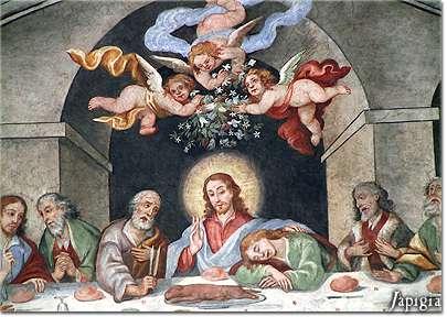 affresco dell'ultima cena presso il convento dei francescani di lequile